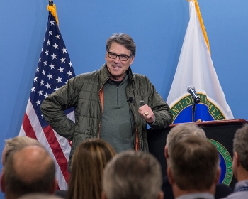 Energy Secretary Rick Perry responds to questions from employees at an all-hands meeting at the Savannah River Site.