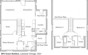 DOE Tour of Zero: Lakeside Cottage by BPC Green Builders floorplans.