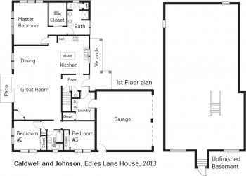 DOE Tour of Zero: Edies Lane House by Caldwell and Johnson floorplans.
