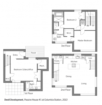 DOE Tour of Zero: Passive House #1 at Columbia Station by Dwell Development floorplans.