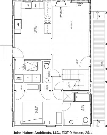 DOE Tour of Zero: EXIT-0 House by John Hubert Associates floorplans.