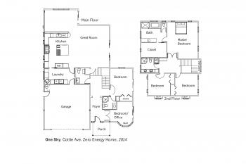 DOE Tour of Zero: Cottle Zero Net Energy Home by One Sky Homes floorplans.