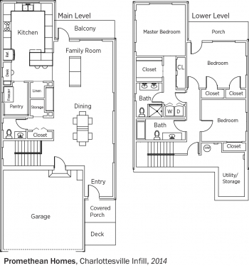 DOE Tour of Zero: Charlottesville Infill by Promethean Homes floorplans.