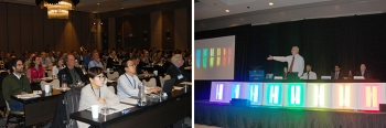 Two photos from the 2018 SSL R&D Workshop showing the audience and a panel of speakers.