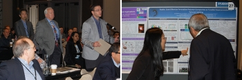 Two photos from the 2018 SSL R&D Workshop showing a Q&A session and a technical poster.