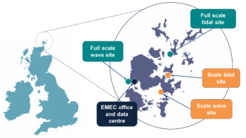 A map illustration of European Marine Energy Centre test sites, located at the Northern tip of Scotland.