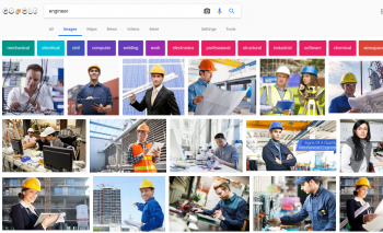 "Results from searching the word ""engineer"" in Google."