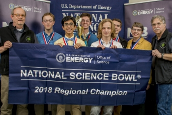"Gatton Academy won the 2018 DOE West Kentucky Regional Science Bowl.  Pictured (left to right): EM-PPPO's Buz Smith, Phillip Wilkerson, Anas Gondal, Benjamin Kash, Arthur ""Jack"" Thacker, Ethan Brown, Coach Cheryl Kirby-Stokes, and PPPO's Don Dihel."