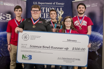 Second-place McCracken County (left-right): Drew Schofield, Sean Sieczka, David Perriello, Katelyn Woodard, and David Dodd