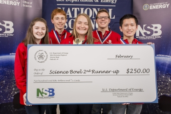 Third-place Calloway County (left to right): Sophia Bogard, Marshall Thompson, Joza Miklvik, Andy Hardt, and Michael Okuda