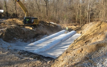 Workers make progress in the culvert replacement project in December.