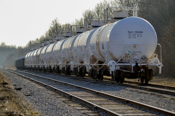 Railcars await shipments scheduled to depart the Paducah Gaseous Diffusion Plant over a newly repaired drainage culvert.