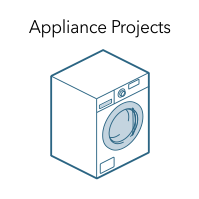 "Graphic of a clothes dryer with the words ""Appliance Projects."""