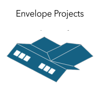 "Graphic of part of a house with the words ""Envelope Projects."""