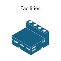 """Grahic of a building with the word """"Facilities."""""""