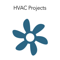 "Graphic of a fan with the words ""HVAC Projects."""
