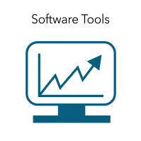 "Graphic of a computer with the words ""Software Tools."""