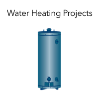 "Graphic of a water heater with the words ""Water Heating Projects."""