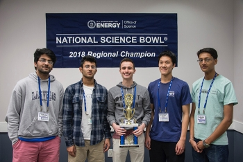 Lakeside High School from Evans, Ga., wins the 2018 Savannah River Regional DOE Science Bowl competition. Pictured left to right: Abhijay Suhag, Saurabh Wakade, William Marcus, Felix Pei, and Krishan Mistry.