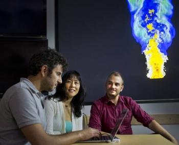 Sandia National Laboratories researchers Giulio Borghesi, left, Jackie Chen, center, and Alex Krisman
