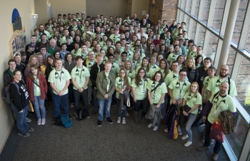 This group photo shows the more than 150 southern Ohio high school students who competed in the 2018 South Central Ohio Regional Science Bowl on March 9.