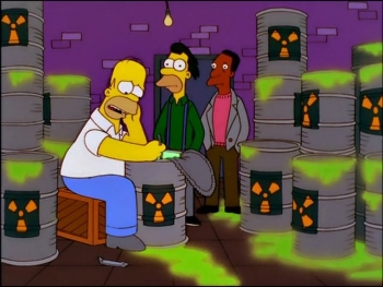 Simpsons characters sitting on drums of radioactive waste.
