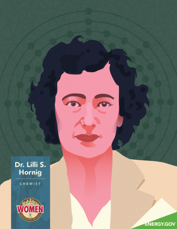 Illustration of Dr. Lilli Horning, a chemist at Los Alamos during the Manhattan Project