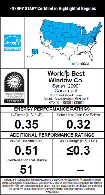 Sample NFRC label showing energy efficiency ratings for windows and ENERGY STAR certification.