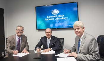 Dr. Terry A. Michalske (left), Director of Savannah River National Laboratory, Under Secretary for Science Paul Dabbar, and Michael Budney, Manager of the Savannah River Operations Office.