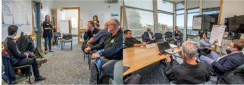 Two photos side by side of people meeting in a room.