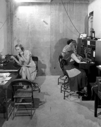 1952: Women at Base Camp Mercury, which became Nevada National Security Site, operate the telephone switch board center.