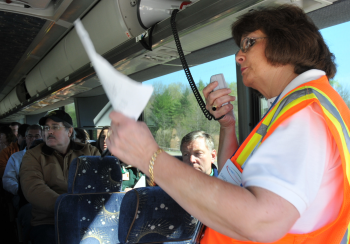Sandy Childers of inSolves, subcontractor to Fluor-BWXT Portsmouth, leads a bus tour of the Portsmouth Gaseous Diffusion Plant site. DOE recently announced its annual seasonal public tours schedule for 2018.