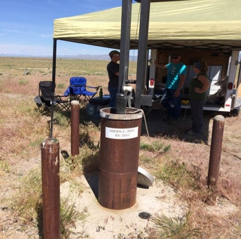 Sampling at the first deep aquifer monitoring well that tested positive for perchloroethylene.