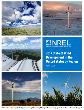 Cover of the 2017 State of Wind Development in the United States by Region.