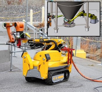 An arm called KUKA and a base called Brokk were joined together to make a robot.