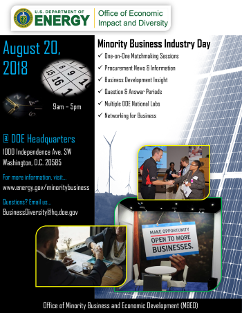 Flyer for the First Annual Minority Business Industry Day on August 20, 2018