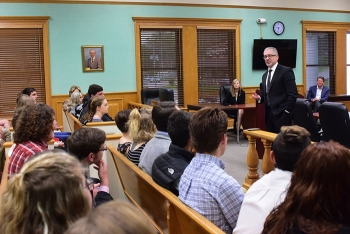 Nearly 100 juniors and seniors from all five Roane County high schools participated in Student Government Day. Here, Oak Ridge Office of Environmental Management Manager Jay Mullis speaks to students about the importance of public service.