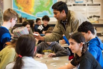 "Ramprashad (""Ram"") Prabhakaran and the seventh-grade students discussed economics and career planning."