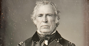A photograph of President Zachary Taylor in black and white.