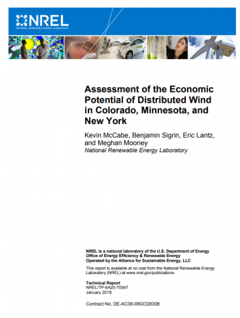 Cover of Assessment of the Economic Potential of Distributed Wind in Colorado, Minnesota, and New York.