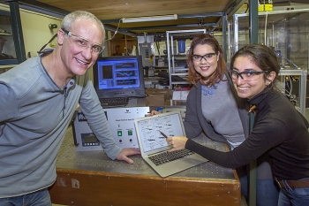 From left: Mentor Art Sedlacek with Fernanda Ramos-Garces and Andrea Ramirez-Puentes in the Environmental & Climate Sciences Department (not pictured: Mentor Ernie Lewis)