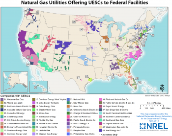 Map of the U.S. showing national utilities.