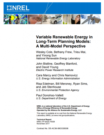 Cover of Variable Renewable Energy in Long-Term Planning Models: A Multi-Model Perspective.