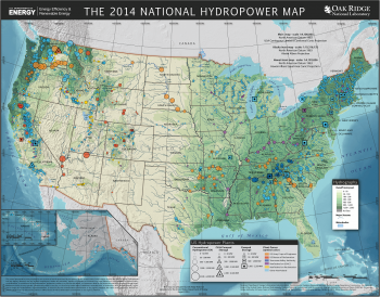 A map of hydropower in the United States