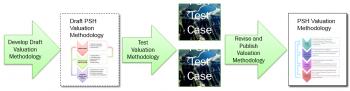 PSH flowchart: develop draft valuation methedology, then draft PSH valuation methedology, test valuation methedology, run several test cases, revise and publish the final PSH valuation methedology.