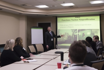Dan Milstein gives a brown bag lunchtime presentation about his work in Bulgaria.
