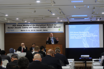 IAEA Lead James Connor addresses attendees at the beginning of the annual meeting.