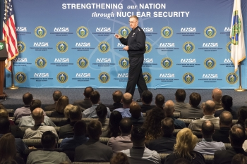 Gen. John E. Hyten, commander of U.S. Strategic Command, addresses the National Nuclear Security Administration's workforce