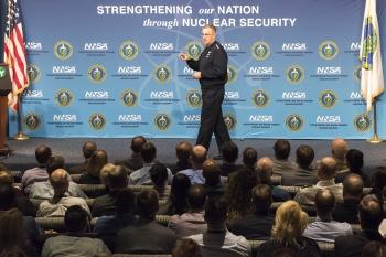 Gen. John E. Hyten, commander of U.S. Strategic Command, addresses the National Nuclear Security Administration's workforce
