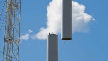 Photo of a wind turbine mid-construction.